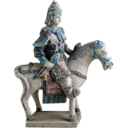 Superb Ming tomb pottery horseman officer w pair of maces!