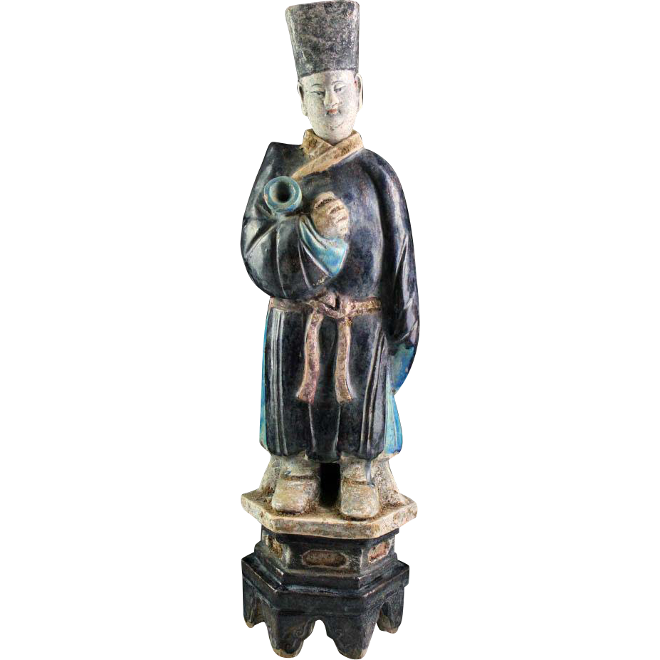 Huge and superb 49 cm. tall Chinese Ming Dynasty pottery figure!