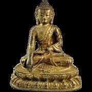 High Quality Early Sino-Tibetan gilt bronze buddha!