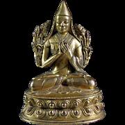 Fine Sino-Tibetan gilt bronze figure of Lama!