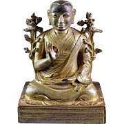 Superb Sino-Tibetan bronze figure of a Lama - inscribed!