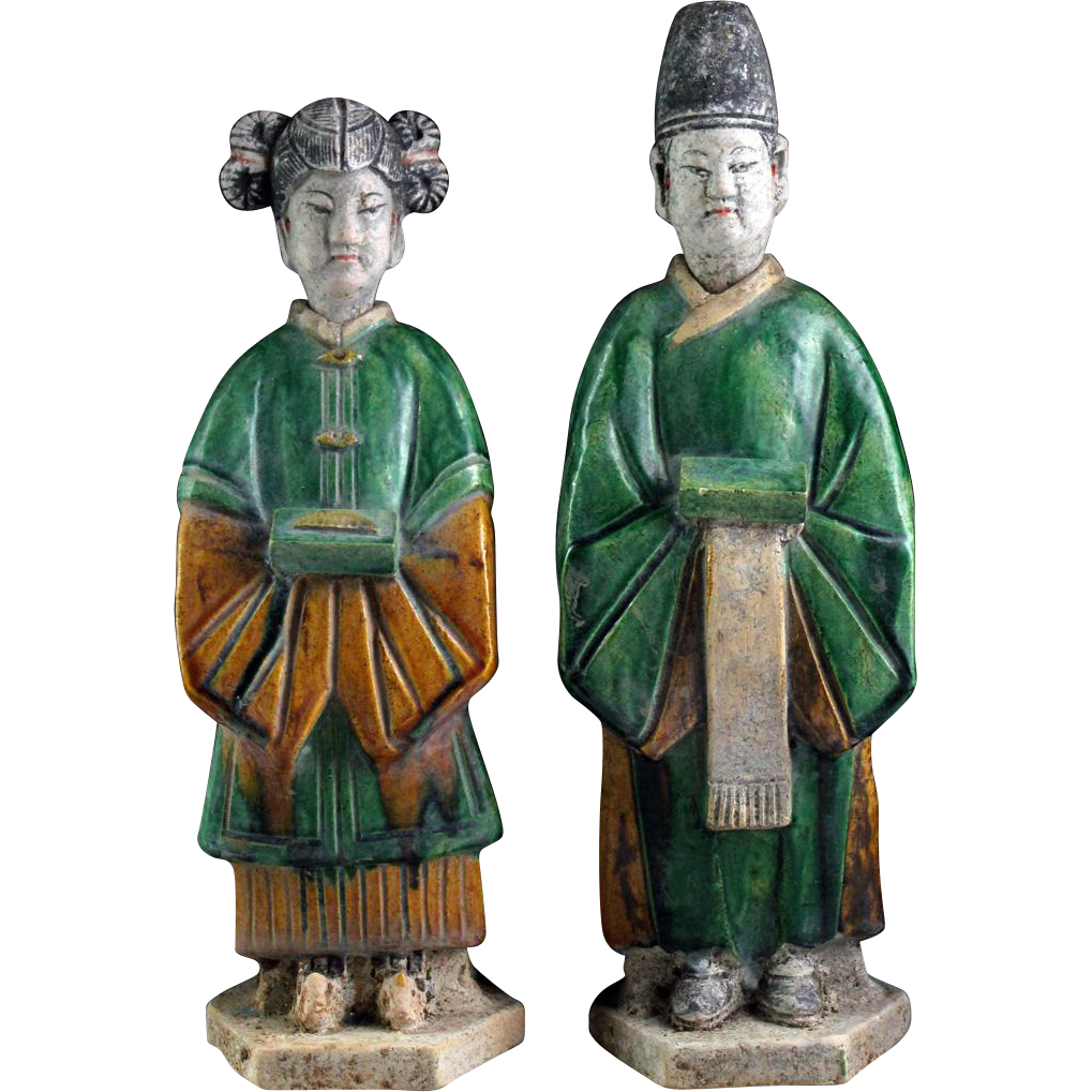 Rare pair of Sancai glazed Chinese pottery attendants, Ming Dynasty!