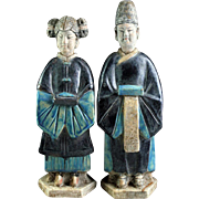 Rare pair of blue glazed Chinese pottery attendants, Ming Dynasty!
