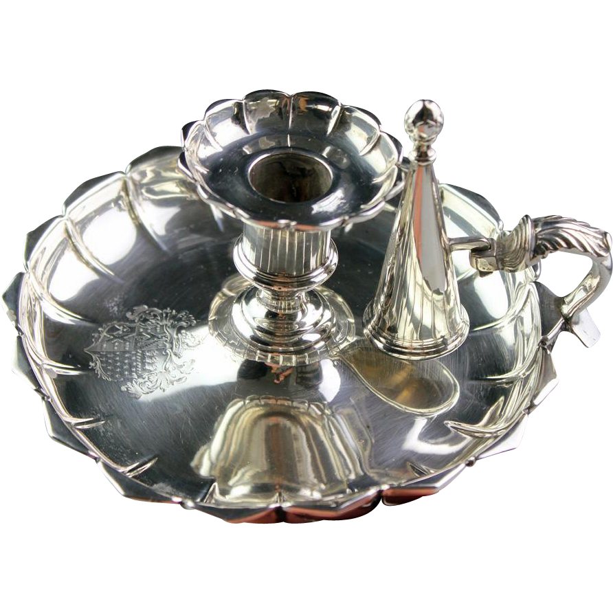 Superb massive English Sterling silver chamberstick, london 1834!