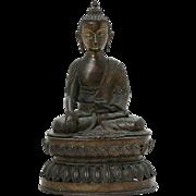 Rare Sino Indian bronze Buddha on double lotus throne, 19th. century