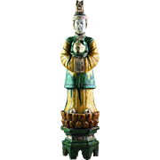 Museum Quality Chinese female Ming pottery figure on lotus throne!