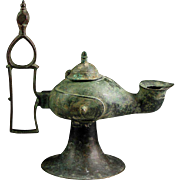 XXL Islamic bronze oillamp Seljuks of Khorasan, 11th. century