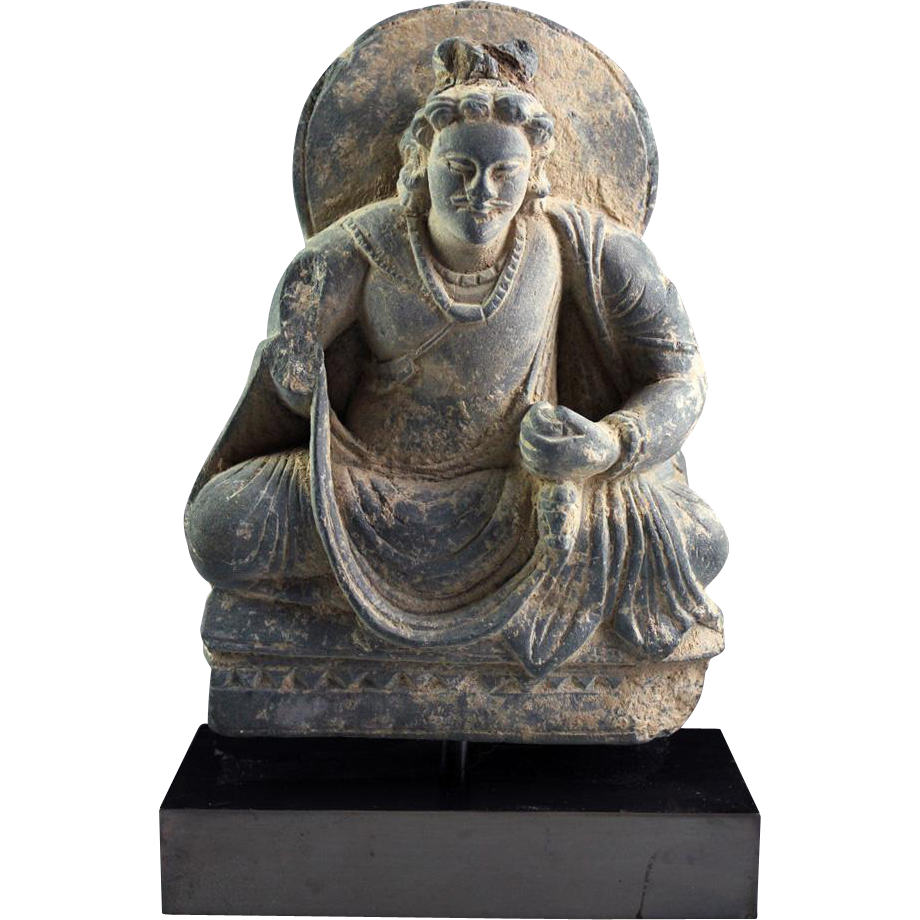 Lovely schist stone figure of Bodhisattva, Gandhara, 3rd century AD