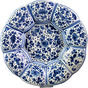 Rare large Dutch delft Scalloped, lobed faiance dish, 17th. cent.