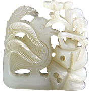 Lovely openwork Chinese pure white Jade carving pendant!