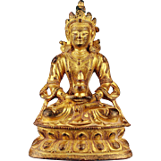 Choice Antique Sino-Tibetan gilt bronze Tara Buddha