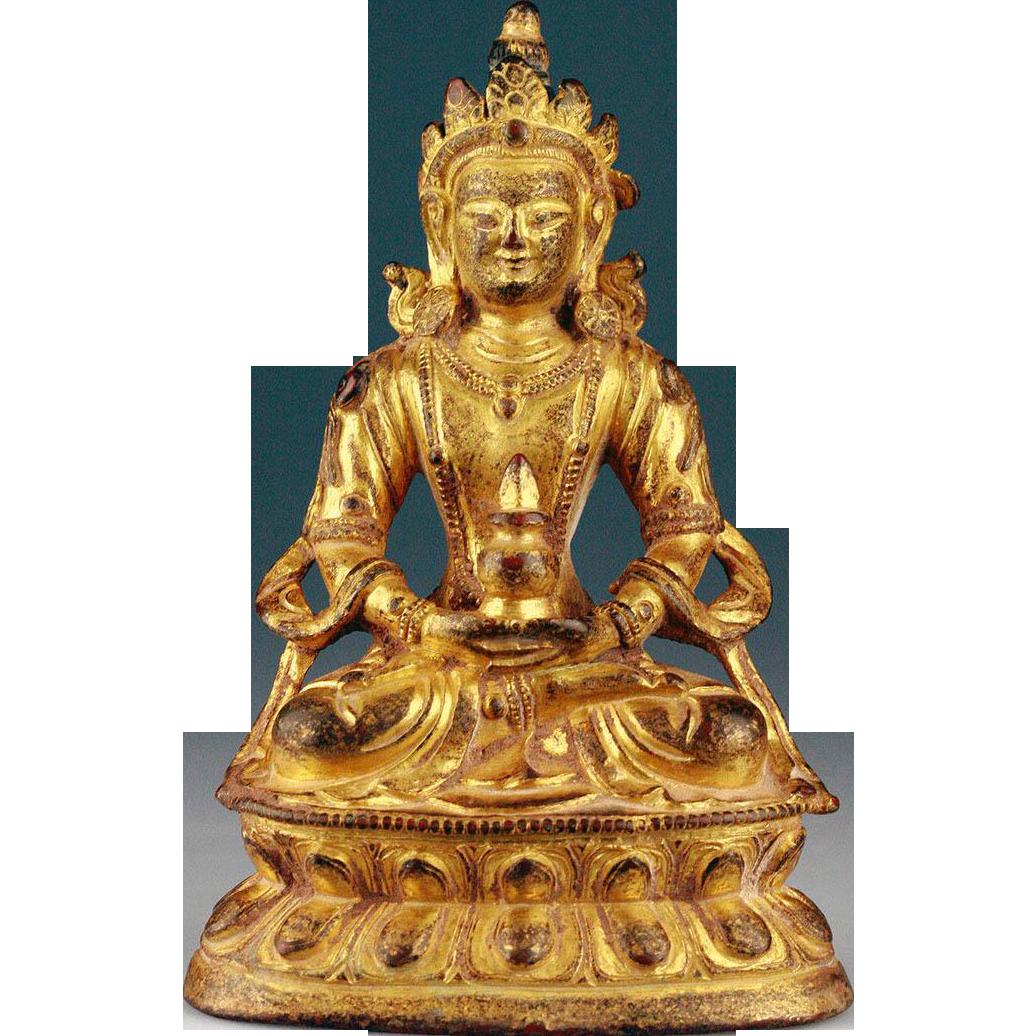 Choice Antique Sino-Tibetan gilt bronze Tara Buddha
