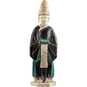 Rare blue glazed Chinese pottery attendant, Ming Dynasty!