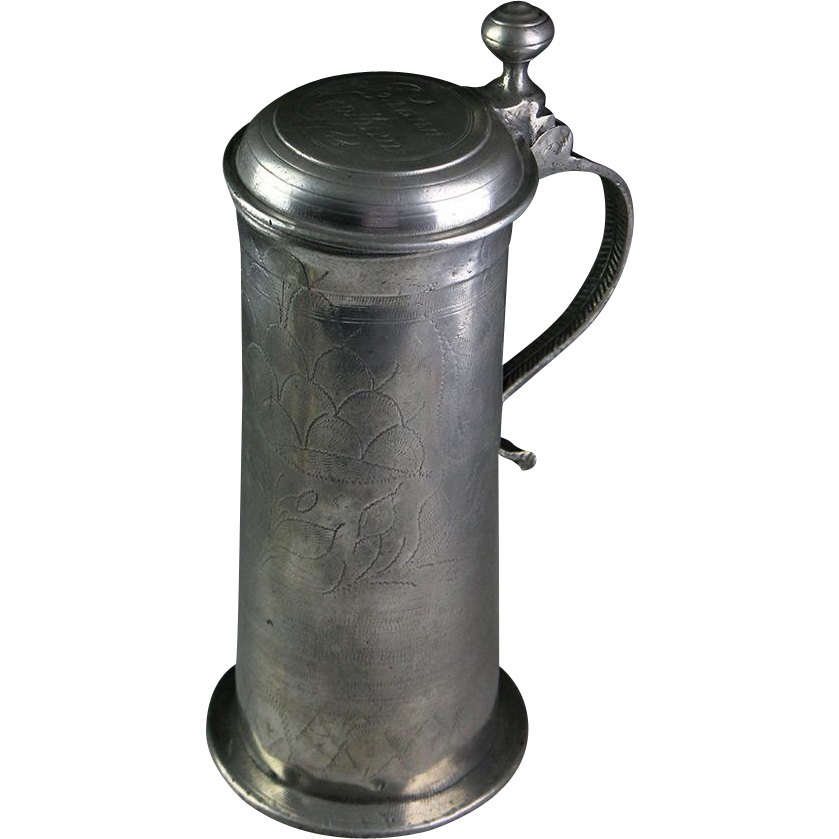 Large top condition Early German Pewter beer tankard or stein 1766!