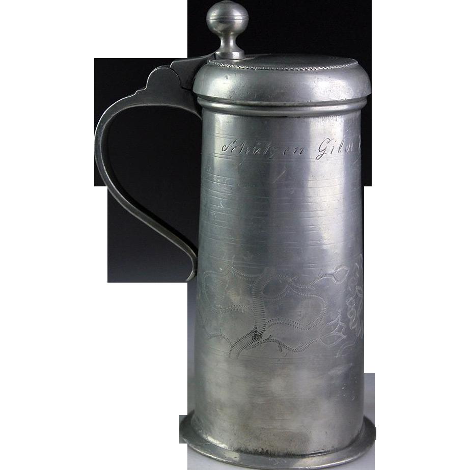 Superb inscribed German peter tankard, stein, mug late 18th. century