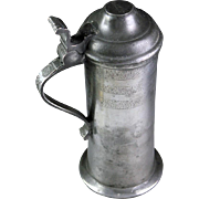 Fine Quality Antique British pewter tankard, 18th. century!