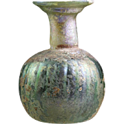 Large Roman ribbed Sprinkler glass flask w. exceptional patina!