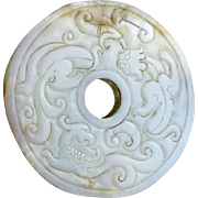 Large Chinese White jade carving of a Bi disc!