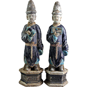 Pair of splendid large Chinese Ming pottery tomb figures, 40-41 cm.!