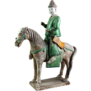 XL Ming Dynasty Tomb pottery figure of a horseman soldier, c. 1500 AD!