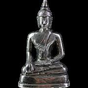 Very rare Thai silver figure of the Buddha, 17th. century!