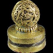 High Quality antique Tibetan openwork gilt bronze seal