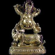 A good Sino-Tibetan Gilt Bronze Figure of Yama Dharmaraja!