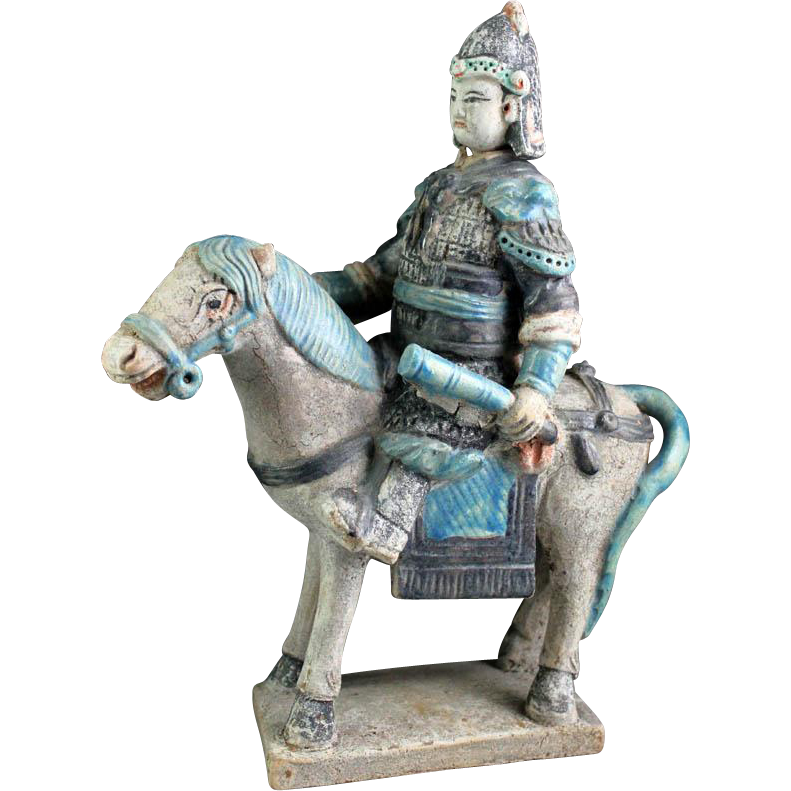 Superb Chinese Ming Tomb pottery figure of horseman w club!