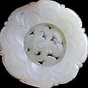 Beautiful Chinese White Nephrite openwork jade carving pendant