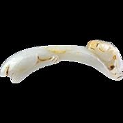 Chinese white Nephrite Jade pendant of elongated cat!