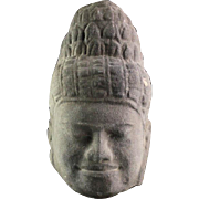 Large Authentic Khmer Stone head of Buddha, 13th. cent. AD.