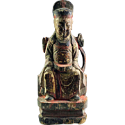 Chinese Ming Dynasty Wood Temple Figure, 16th.-17th. century