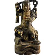 High quality gilt Chinese wooden figure of Zhenwu, Ming Dynasty