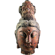 Antique lifesize Chinese wood head of female deity, 17th.-18th. cent