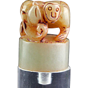 Choice Chinese Pale Celadon / white Jade seal with monkey!
