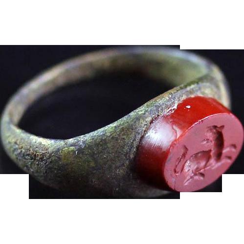 Rare and superb Roman Intaglio silver ring, 1st.-3rd. century AD