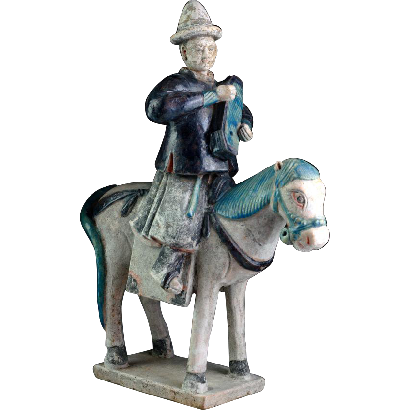 Superb & XL Ming Dynasty pottery horse rider attendant, 14th-15th cent!!