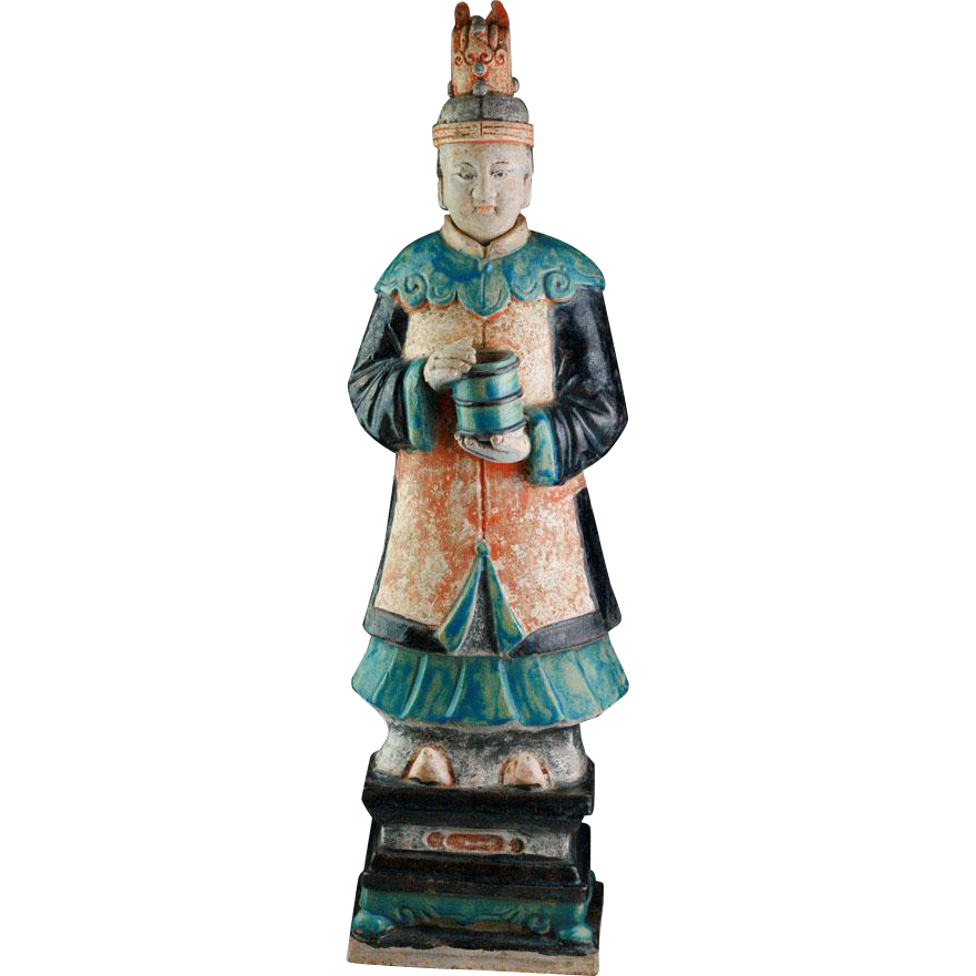 XXL & beautyful Ming Dynasty tomb female pottery figure, attendant, 63-64 cm - 14th-15th cent