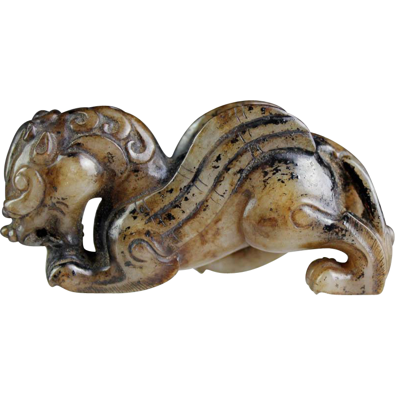 Choice Chinese Jade carving pendant of horned winged lion!