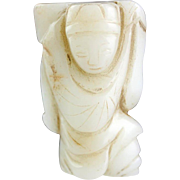 Beautiful Chinese jade carving in white Nephrite of boy!