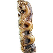A good Chinese Jade Nephrite pendant of Dragon and Dancer!