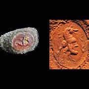 Rare Roman silver seal ring with a fine Carnelian intaglio!