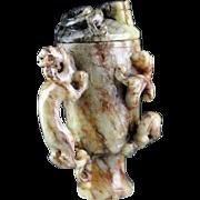 Wonderful Chinese sculptural lidded Jade Nephrite vessel!