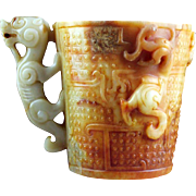 Fine style Chinese archaistic white & russet Nephrite Jade beaker!
