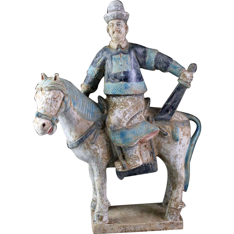 Ming Dynasty Mandarin officer tomb pottery Horseman with sword!