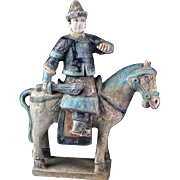 Superb Ming Dynasty Mandarin armed officer tomb pottery Horseman!