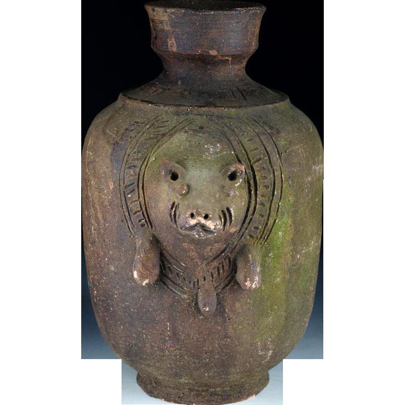 Rare large Jar w. pig, Khmer-Thai Empire, Angor period 12th. Cent.