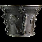 High Quality Antique France bronze mortar w royal portraits, 1600!