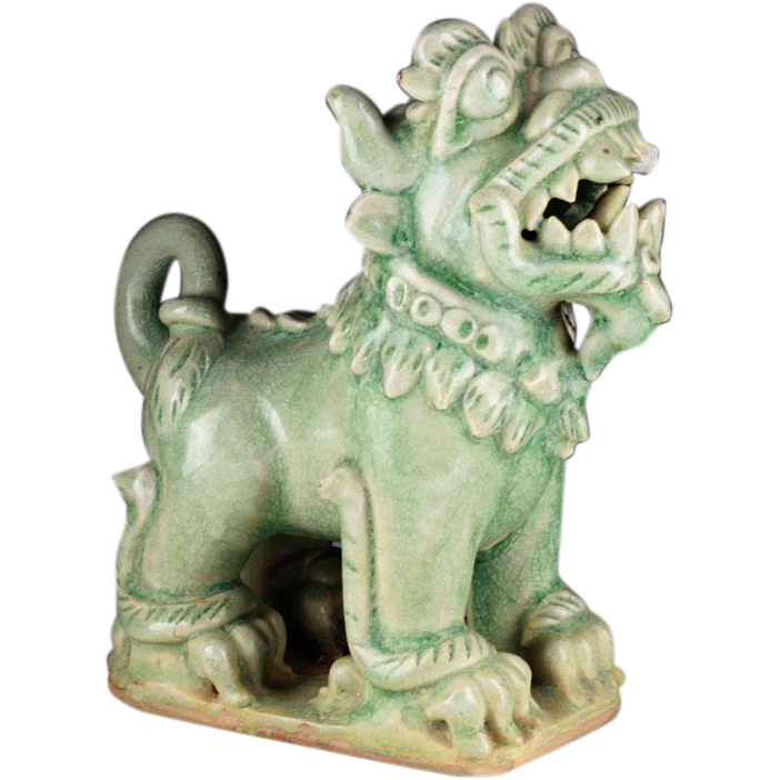 Important Sukhothai Lime-green celadon Porcelain glazed Guardian creature!
