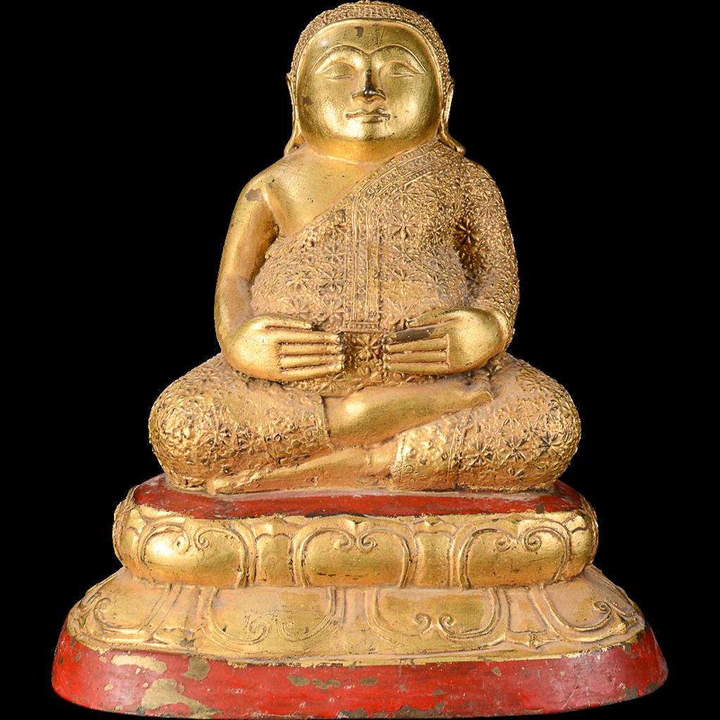High Quality Gilt Thai bronze fat & happy Buddha, 19th. century
